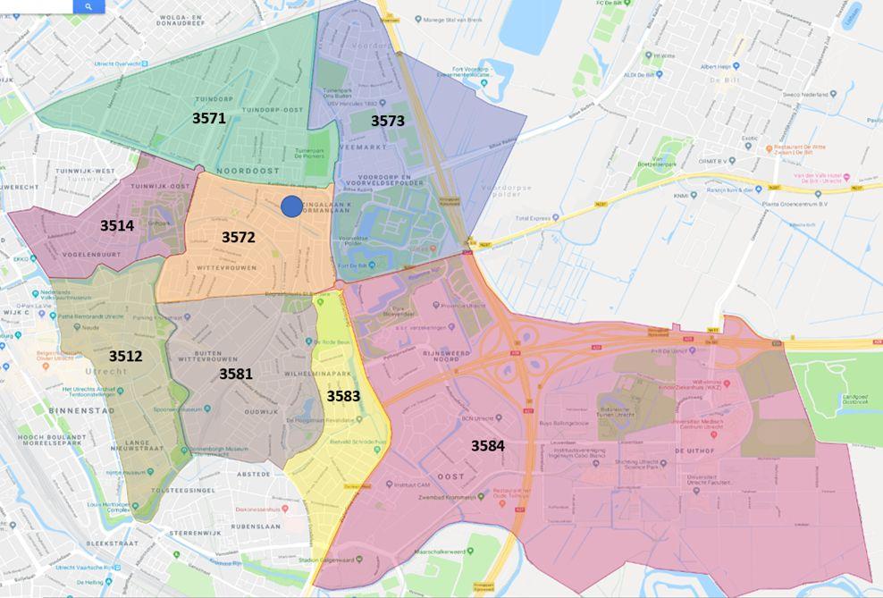 Deelnemende postcodegebieden